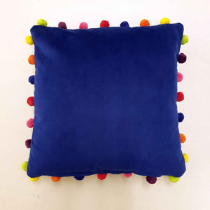 Cobalt Blue Velvet Cushion with Pompoms