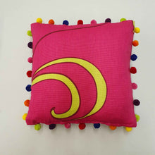 Load image into Gallery viewer, Fuchsia Cotton and Velvet Cushion with Pompoms