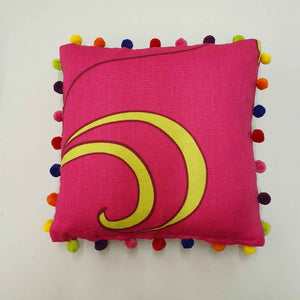 Fuchsia Cotton and Velvet Cushion with Pompoms