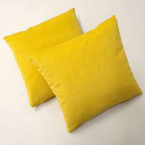 Pair of Yellow Velvet Cushions