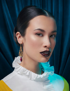A model with dark lipstick is pictured wearing gold art deco inspired earrings, a white shirt with a frilled collar, and a yellow sweater.
