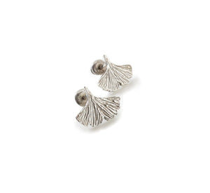 Sterling silver ginkgo leaf shaped earrings on a white background