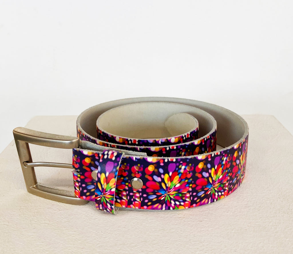 Color Burst Leather Belt - MASH Gallery