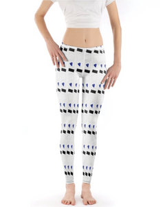 Blue Heart Patterned Leggings