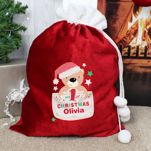 Personalised Pocket Teddy My 1st Christmas Luxury Pom Pom Red Sack