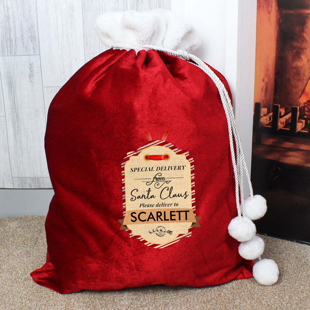 Personalised Special Delivery Luxury Pom Pom Red Sack