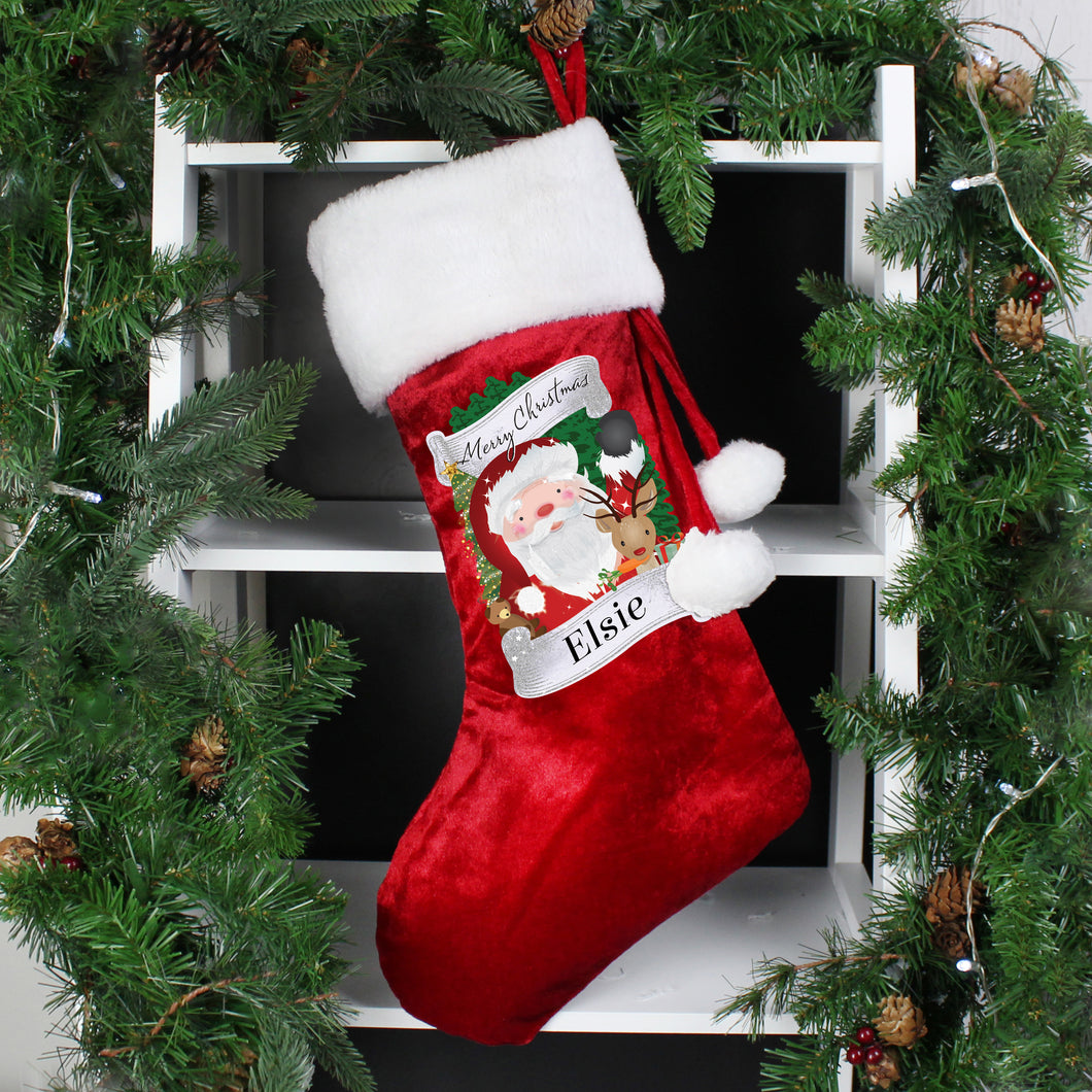 Personalised Christmas Santa Red Stocking