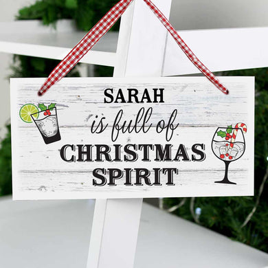 Personalised Christmas Spirt Wooden Sign