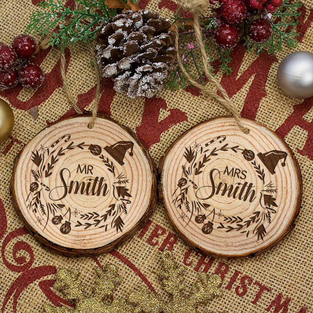 Personalised Engraved Set of Two Couple's Christmas Tree Decoration