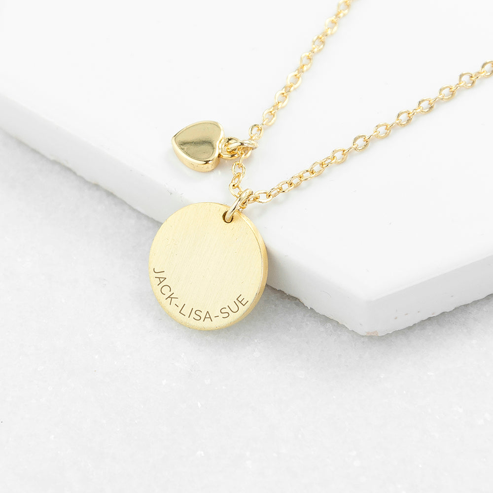 Personalised Heart and Disc Family Necklace