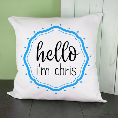 Hello Baby In Blue Frame Cushion Cover