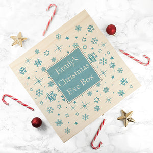 Personalised Ice Blue Snowflake Christmas Eve Box