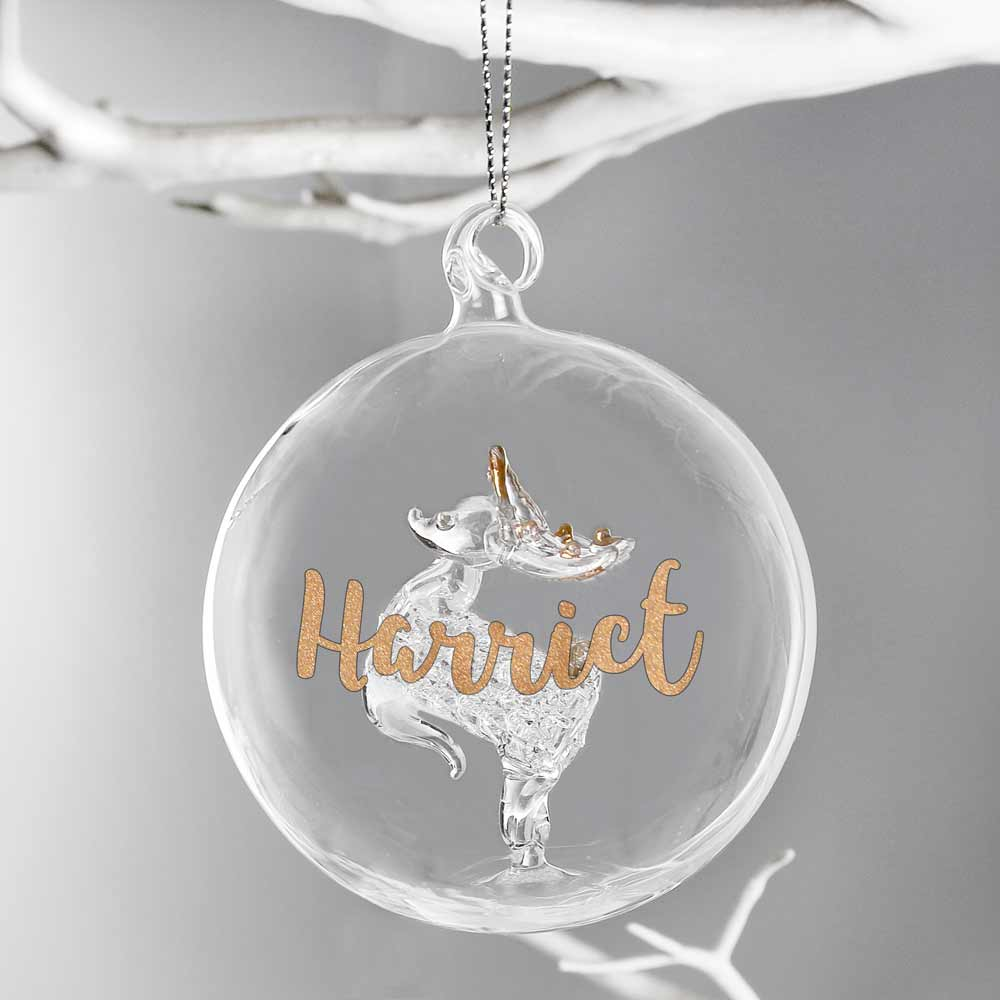 Personalised Name Gold Glitter Reindeer Bauble
