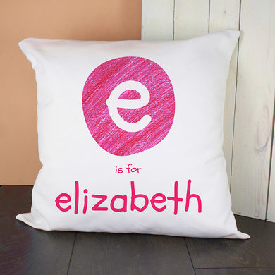 Pink Initial Cushion Cover