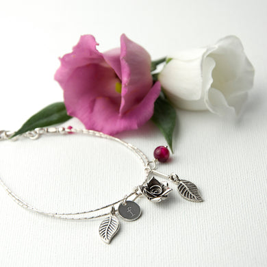 English Rose Bracelet With Indian Ruby Stones