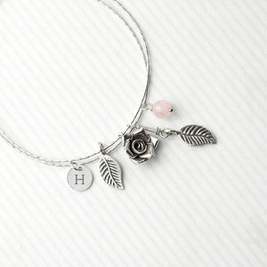 English Rose Bracelet With Rose Quartz Stones
