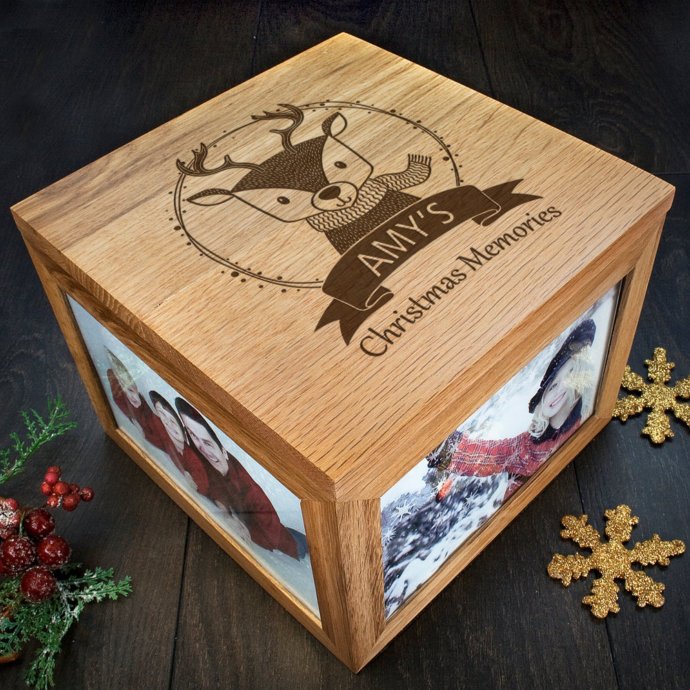Personalised Woodland Reindeer Christmas Memory Box