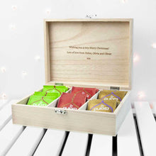 Load image into Gallery viewer, Personalised Festive Woodland Christmas Tea Box (inside)
