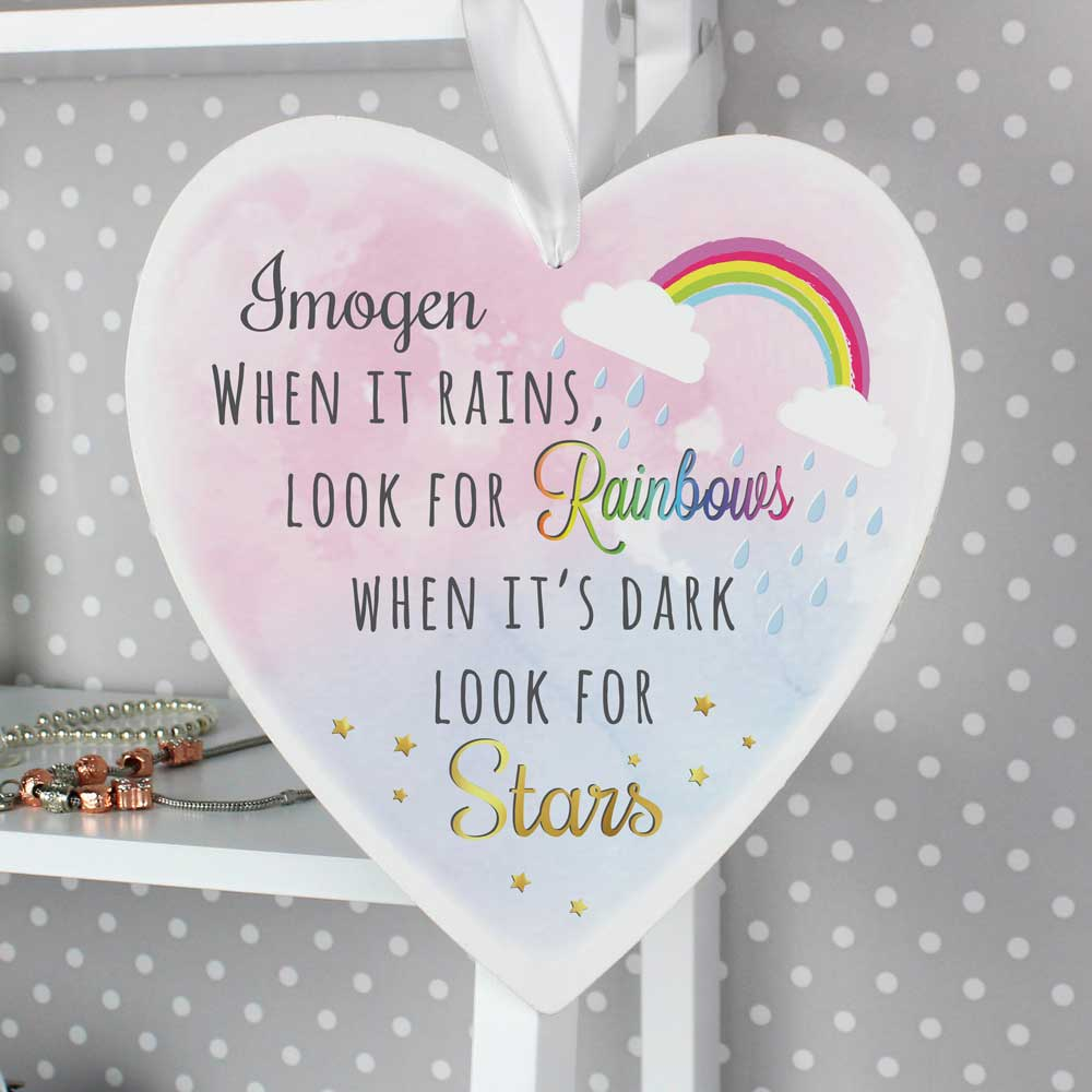 Rainbows and Stars Large Wooden Heart Decoration