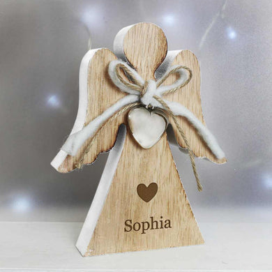Rustic Wooden Angel Heart Decoration