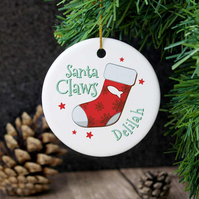 Personalised Santa Claws Round Ceramic Decoration
