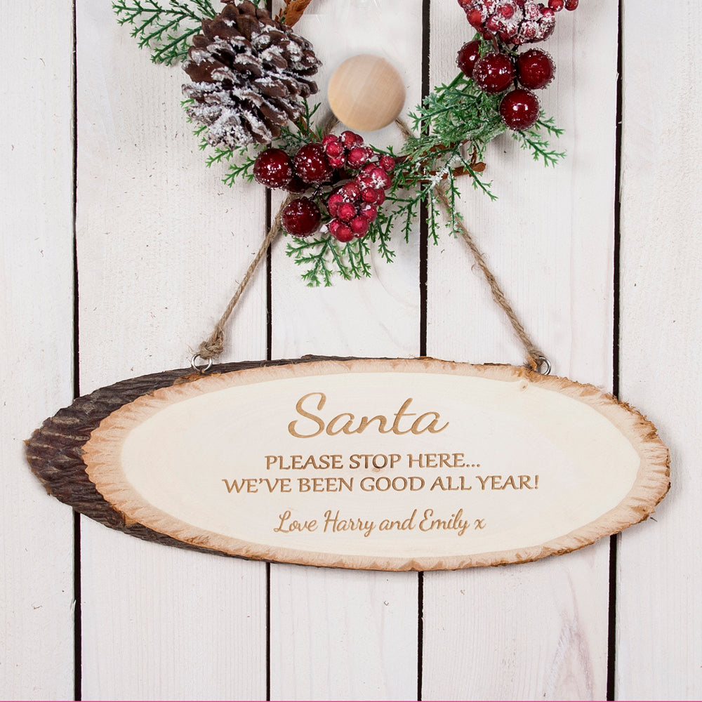 Santa Please Stop Here Wooden Sign