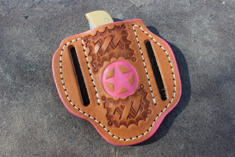 Small Pink Pancake style Basket Stamp Angle Sheath 2-Sided (17124-S TxSt pink)