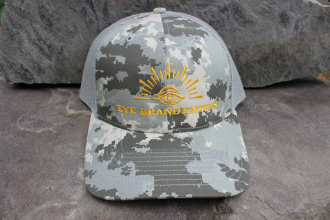 Gray Digital Camo hat with Eye Brand logo