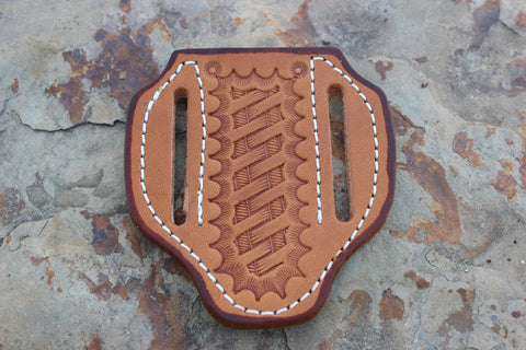 Small Pancake style Basket Stamp Sheath tanned (17124)