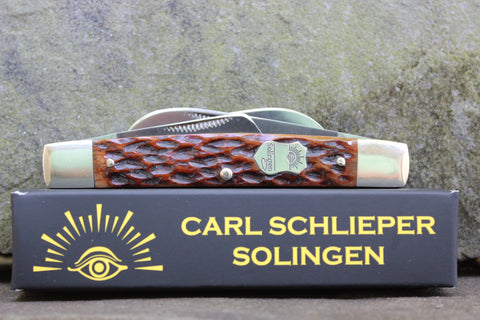 Eye Brand Carl Schlieper Large Congressman No. 60 4 blade brown pic bone
