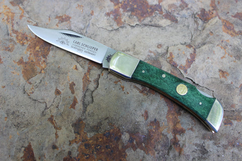 Clodbuster jr Lockback w/ shield 99jrL Smooth Green Bone double bolster