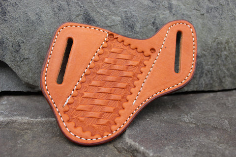 Large Pancake style Basket Stamped Angled Sheath (27124-NDS)