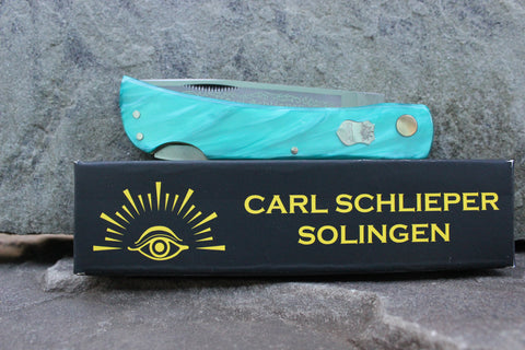 "Eye Brand Carl Schlieper 99 Lockback Kirinite ""Teal"" handles Special Edition"