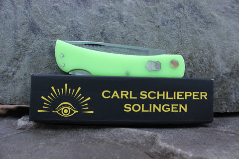 "Special Edition Eye Brand Carl Schlieper 99 Lockback Kirinite ""Starlight Neon Green"" glow-in-the-dark handles"