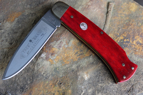 Böker Large Lockback with Smooth Red bone handles (BK1000SRB)