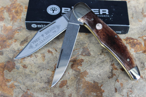 "Böker Folding Hunter with smooth ""Buckskin"" Bone handles (BK2020BK)"