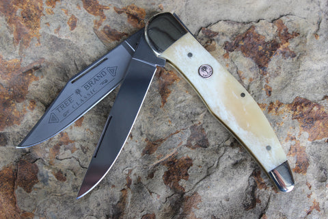 Böker Folding Hunter with smooth White Bone handles (BK2020SWB)