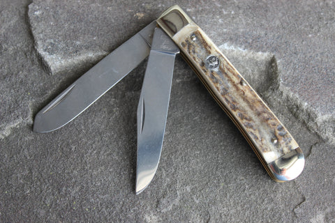 Hen & Rooster Large Trapper Stainless Steel Knife with Stag handles (312DS)