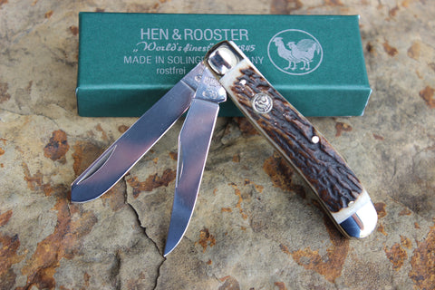 Hen & Rooster Slimline Trapper Stainless Steel Knife with Stag handles (212DS)