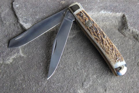 Hen & Rooster Small Trapper Stainless Steel Knife with Stag handles (412DS)
