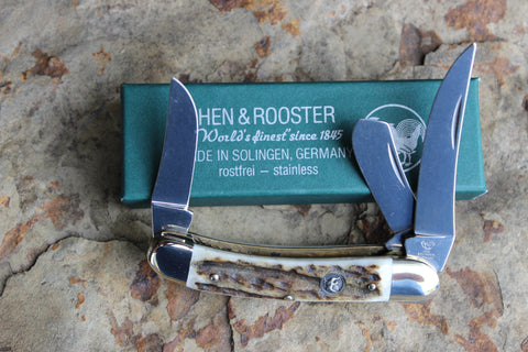 Hen & Rooster Little Sowbelly Stockman Stainless Steel Knife with Stag handles (283DS)