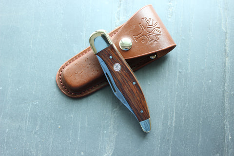 Böker Folding Hunter with Rosewood handles and Sheath (112020)