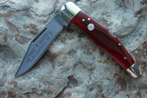 Böker Large Lockback Single Blade Hunter with Red Bone handles  (BK1011SRB)
