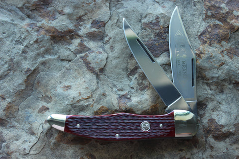Böker Folding Hunter with Jigged Red Bone handles (BK2020JRB)