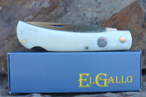 El Gallo EG99LB Smooth Bone Handle Large Lockback D2 blade