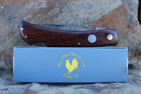 El Gallo EG99Ldam Wood Handle large Lockback Damascus