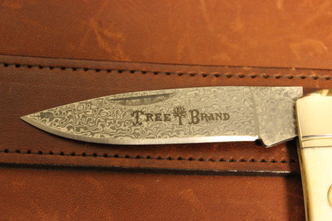 Böker Smooth White Bone Gentleman's Lockback w/ Damascus Blade (110251DAM)