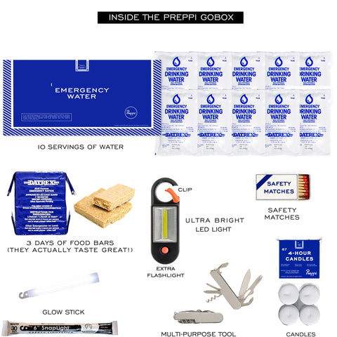 Preppi GoBox - 3-day Emergency and Earthquake Kit Bag Contents