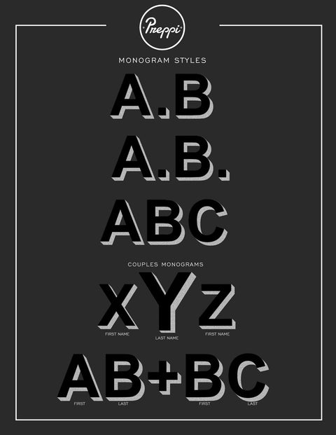 Preppi Prepster Black Hand Painted Custom Monogram Alphabet Style Sheet