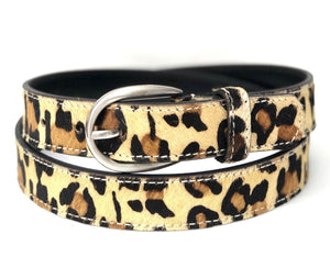 Animal Print Cowhide Belt - Leopard